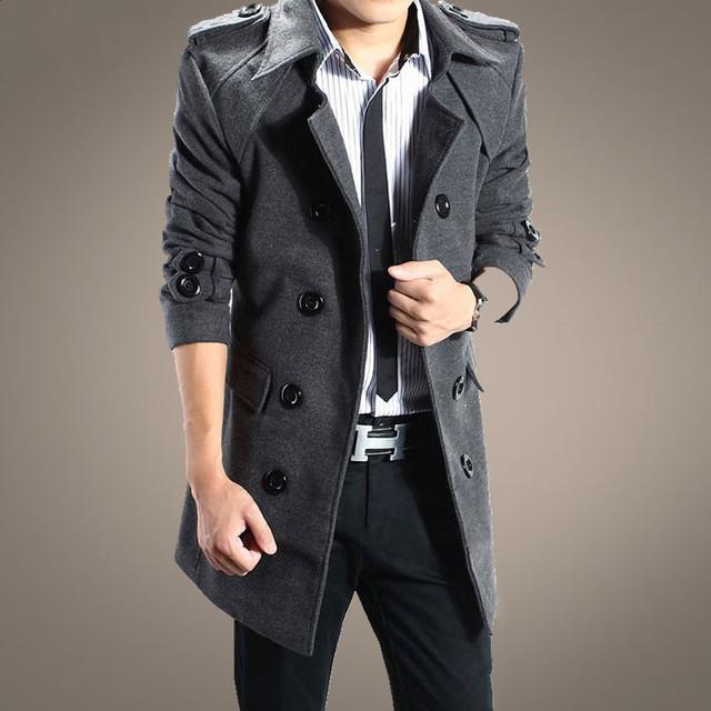 Promoción 2016 nueva boutique de moda de invierno gabardina masculina/Men's casual long cruzado capa de polvo envío gratis