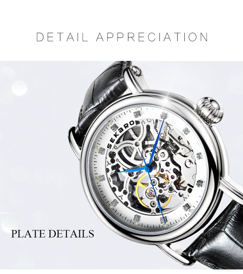 SEKARO Brand Women Mechanical Watches Diamond Ladies hand-winding Wristwatches Leather Fashion Skeleton Dial Gift for Female
