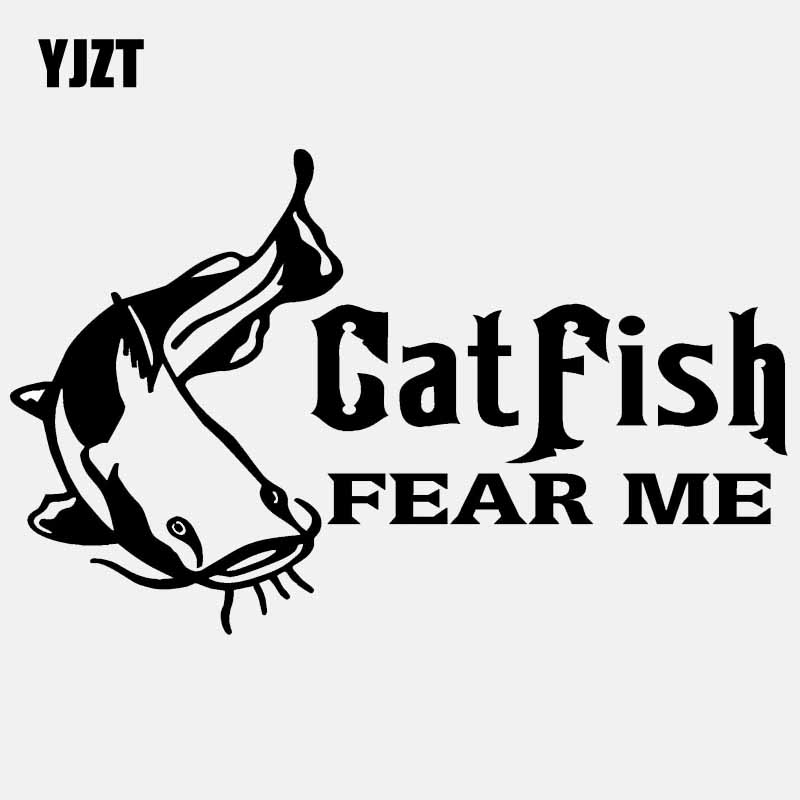 Automobiles & Motorcycles Yjzt 16cm*9.9cm Catfish Fear Me Vinyl Decal Window Car Sticker Cat Fish Fishing Sticker Black/silver C24-0408 Complete In Specifications