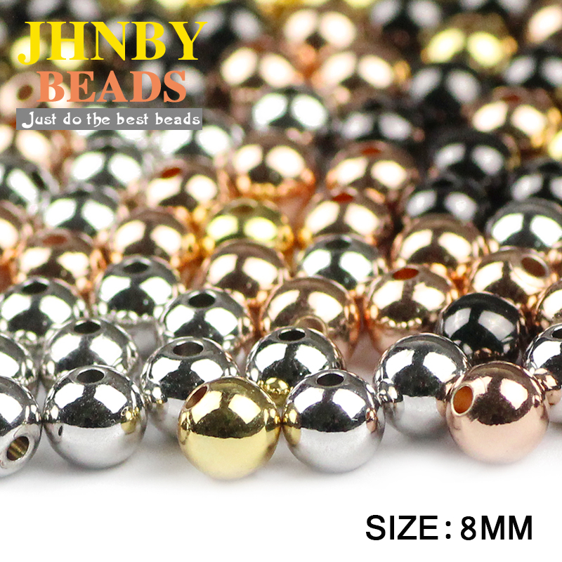 JHNBY Copper Spacer beads 30pcs 8mm Rose Gold/Gun black Color Round Loose beads Jewelry bracelet Findings making DIY Wholesale