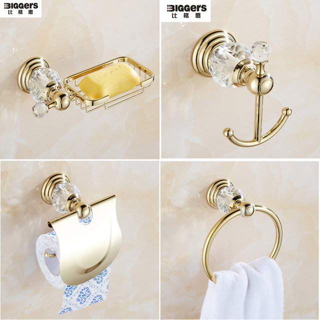 Free shipping luxury european gold color crystal bathroom for Coloured bathroom accessories set
