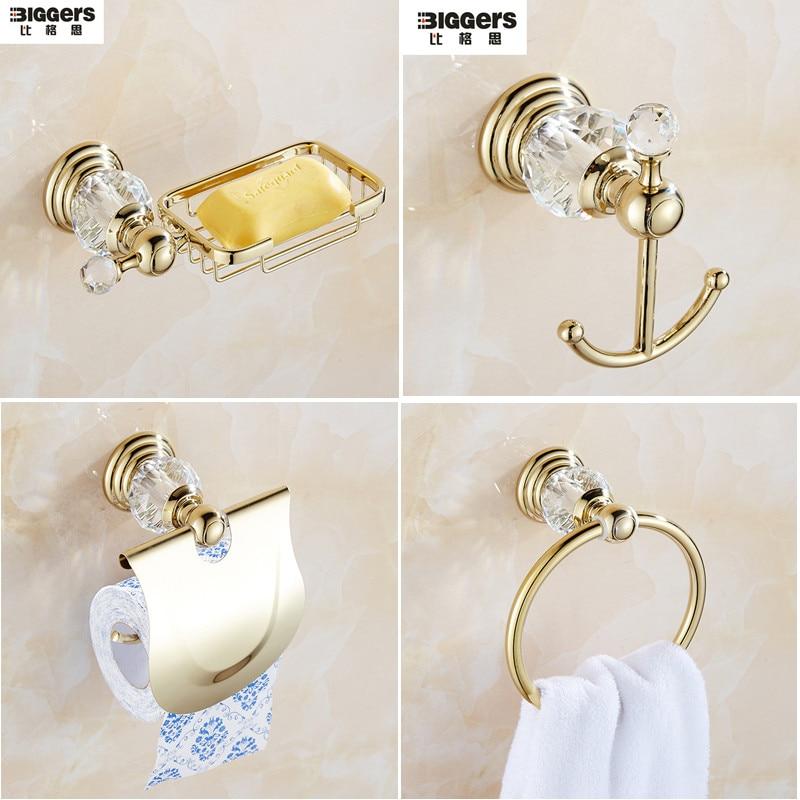 Livraison gratuite luxe européen or couleur cristal salle de bain accessoires ensemble serviette anneau robe crochet porte-papier porte-savon compartiments à vaisselle