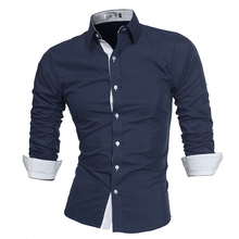 Lacontrie Men Shirt Brand 2017 Male High Quality Long Sleeve Shirts Casual Slim Fit Black Man Dress Shirts Plus Size 4XL