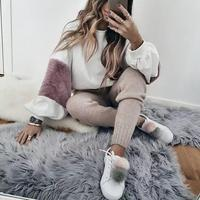 Women Faux Fur Crop Hoodies Sweatshirt Tumblr Oversize Pink Sweatshirt Fashion Jumper Autumn Cute Patchwork Long