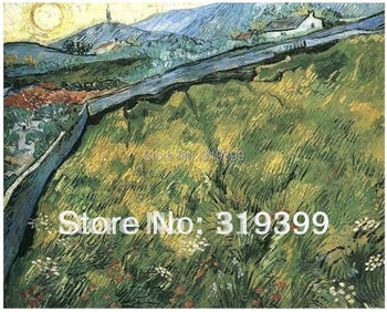 Linen canvas Oil Painting,Field of Spring Wheat at Sunrise by Vincent Van Gogh,100% handmade,Free DHL Shipping,Museum quality