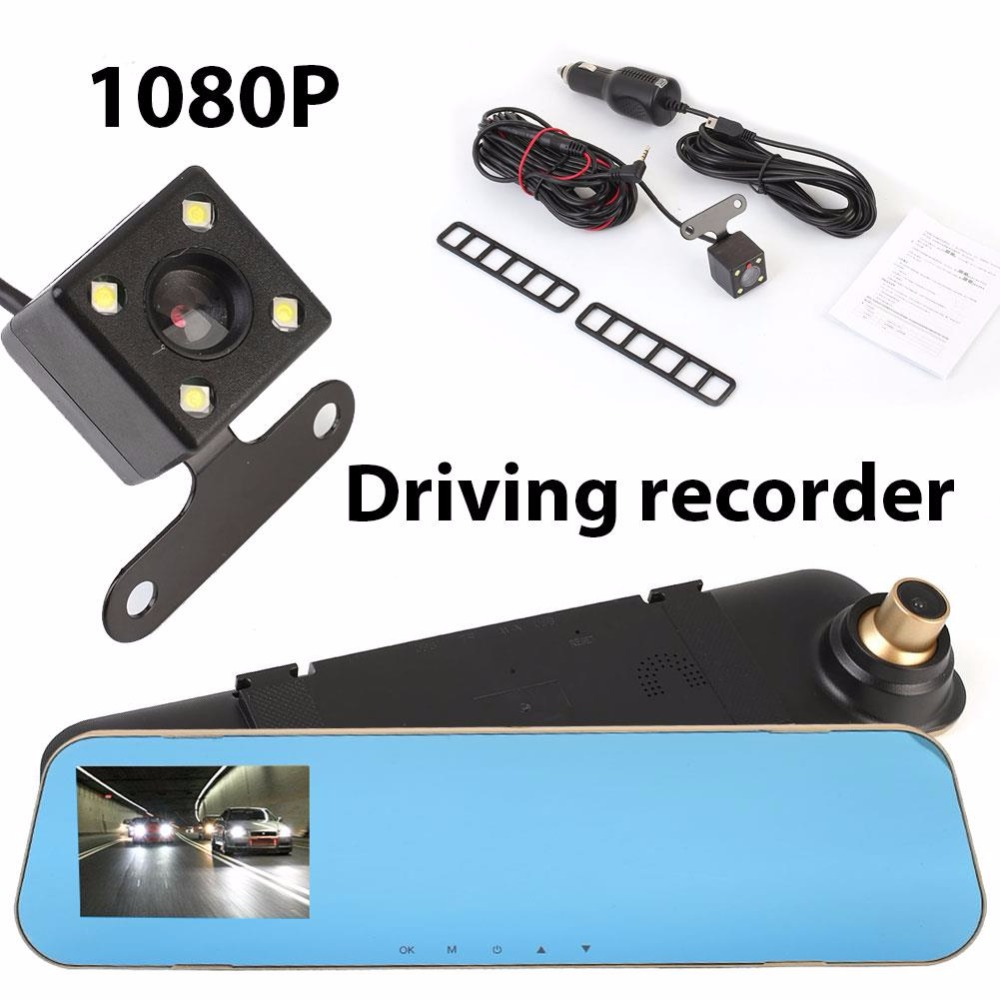 VEHEMO 1080P HD Car DVR Camera Night Vision Loop Recording DVR Video Recorder Dual Lens Dash Cam 4.1 Inches Rearview Camera