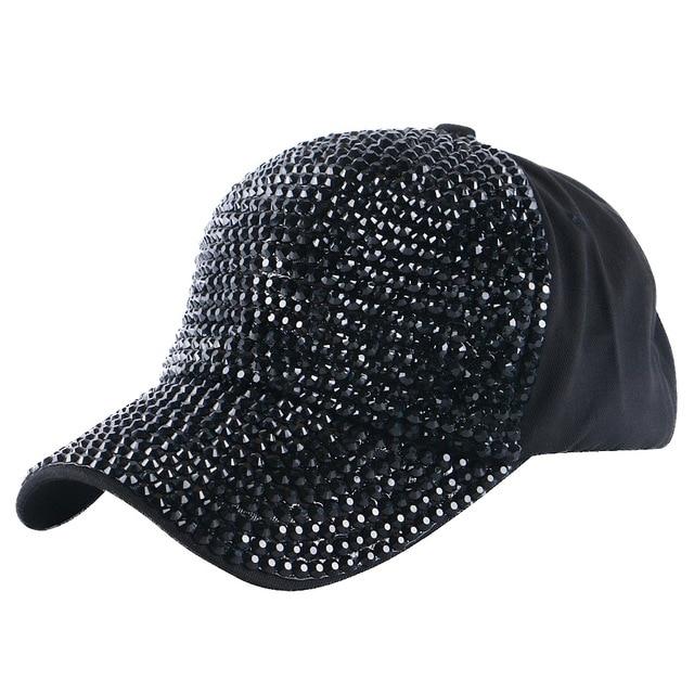 girl women luxury baseball cap hat jet black rhinestone crystal novelty beauty snapback hats caps outdoor casual gorra casquette