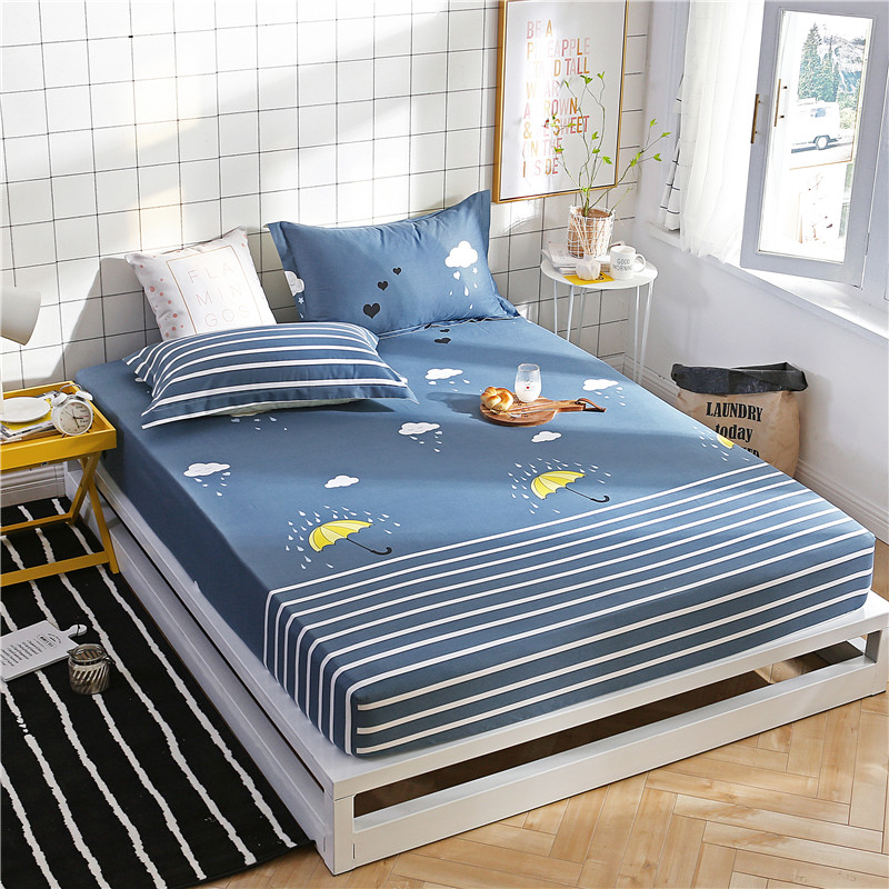 Cartoon Blue White Stripe Pattern Polyester Fitted Sheet ...