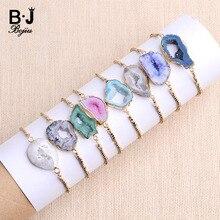 BoJIU Trendy Big Natural Stone Quartz Druzy Charm Bracelets For Women Handmade Gold Plating Copper Beads Drusy Bracelet BCSET131