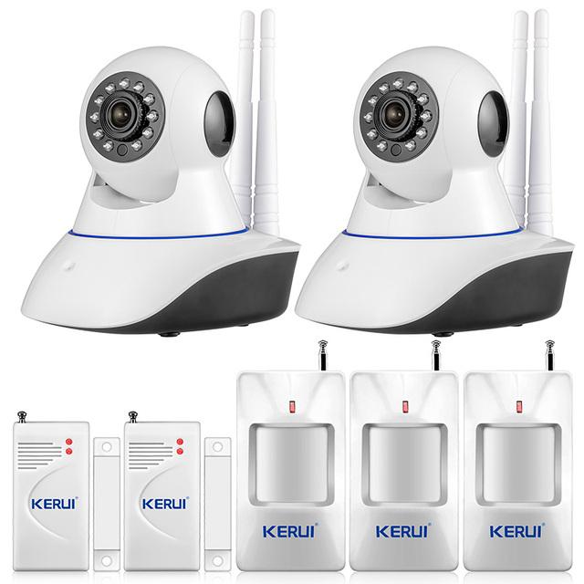 720 P HD WiFi IP Câmera HD CMOS 1MP CCTV IP câmera de segurança sistema de alarme De wi-fi e sistema de alarme Android APP controle GSM sms