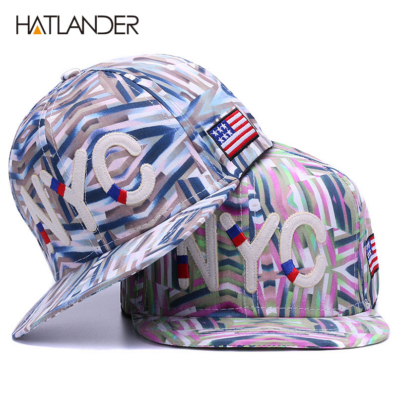 HATLANDER Embroidery letter <font><b>NYC</b></font> baseball caps women hip hop snapback caps youth flat brim gorras cotton outdoor hats for girls image