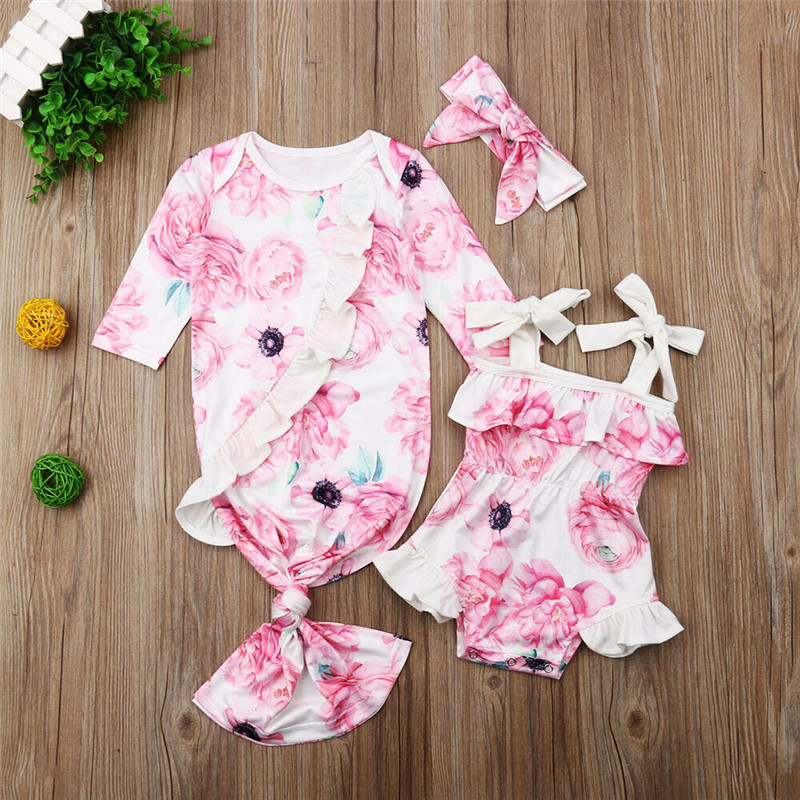 Newborn Sleeping Bags Toddler Gigoteuse Bebe Baby Girl Floral One-Piece Sleepbag Romper Sunsuit Clothes