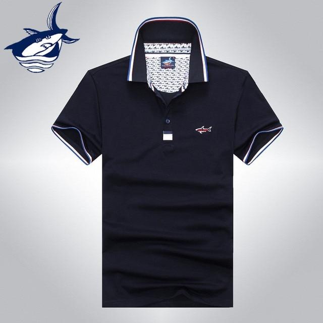 2016 de alta qualidade da marca tubarão clássico camisa pólo de algodão  homens de negócios slim 79f4abe44e832
