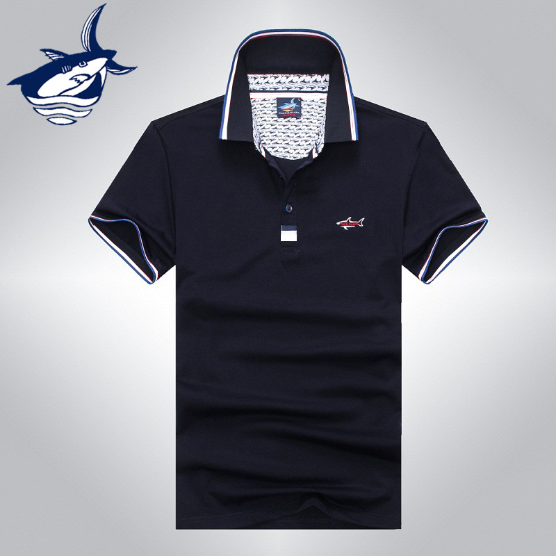2016 marca de alta calidad clásica camisa de polo de tiburón hombres algodón de negocios slim fit Tace & Shark logo para hombre camisa polo masculina 920