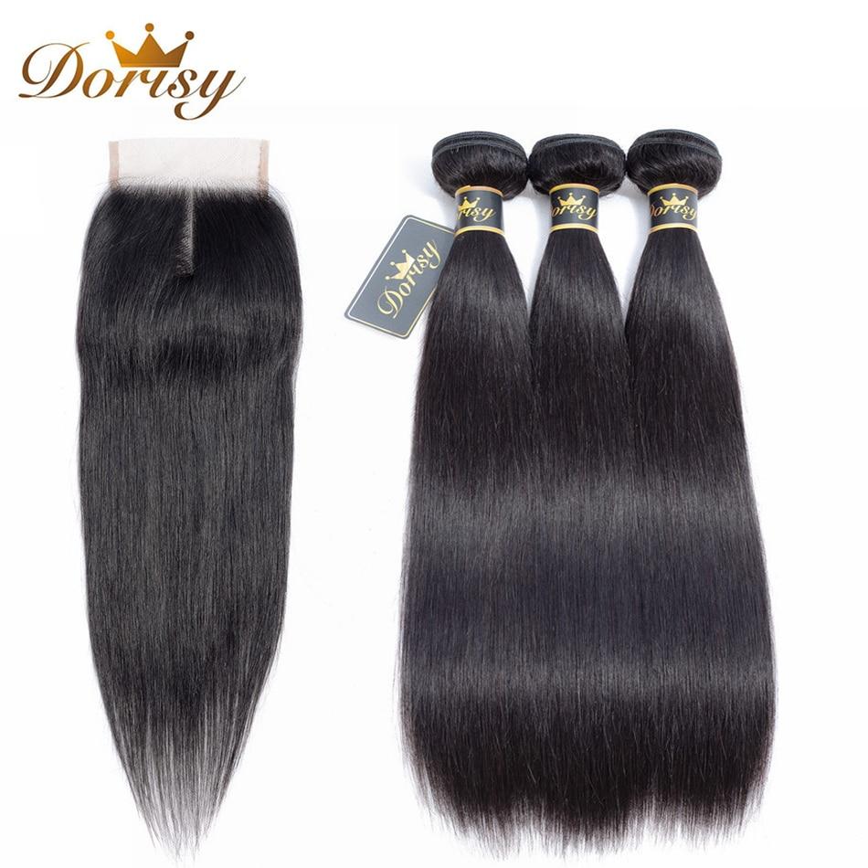 Dorisy Brazilian Straight Hair Weave 3 Bundles with Lace Closure Non Remy Pre-colored 4x4 Lace Closure Double Weft Bundles