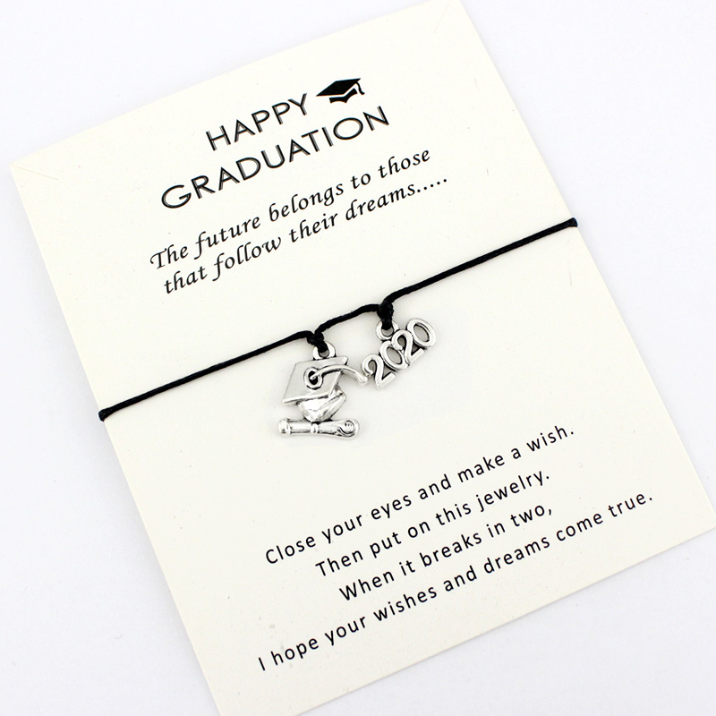 2019 2020 Graduation Senior Square College Cap Diploma Charm Bracelets Women Men Girl Boy Unisex Fashion Jewelry Friendship Gift image