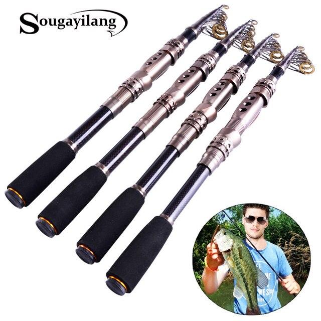 Sougayilang Telescopic Fishing Rod 1.8-3.3m Spinning Fishing Carbon Fiber Fishing Rod High Saltwater Rod Bait Casting Rod Pesca