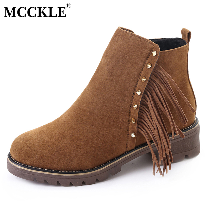 MCCKLE Female Tassel Slip On Rivets Zip Ankle Boots 2017 Women's Suede Black Platform Casual Fashion Style Comfortable Shoes mcckle women high heels ankle boots female buckle slip on suede shoes woman platform spring autumn casual shoes black size 35 39