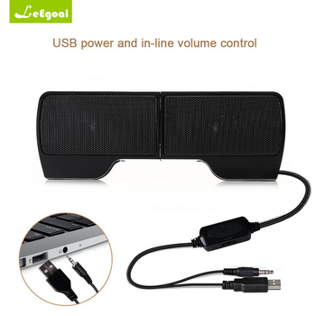 Leegoal Clip Speaker Mini Portable Clipon USB Stereo Speakers Line Controller Soundbar for Laptop Notebook PC Computer with Clip
