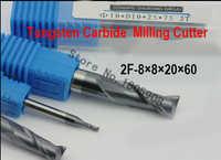 2F-8.0*8*20*60 HRC50... herramientas de fresado de brocas de carburo CNC fresas de extremo plano, herramienta de torno, barra de perforación, cnc de la máquina
