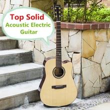 Tapa de la guitarra eléctrica sólida acústica cuerdas de acero baladas folk pop Flattop 41 pulgadas guitarra picea asperata corte de luz electro
