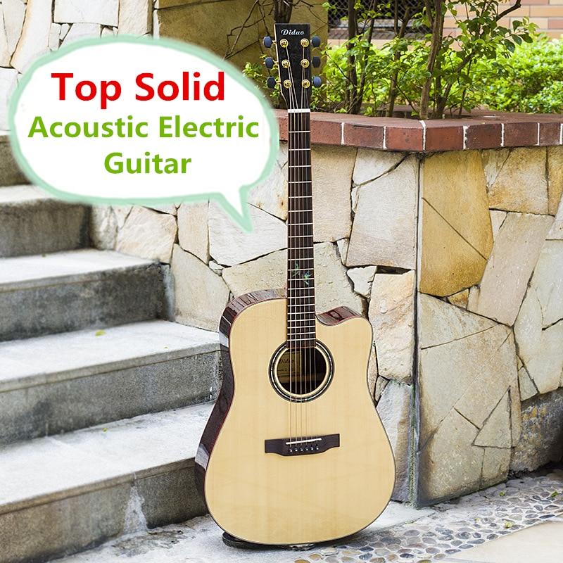 Guitar Top Solid Acoustic Electric Steel String Balladry Folk Pop Flattop 41 Inch Guitarra Picea Asperata Light Cutaway Electro