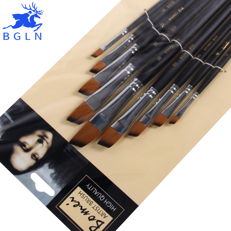 9pcs/set Different Size Oblique Acrylic Oil Painting Brush Long Hanle Nylon Paint Brush For Oil Acrylic Brush Art Supplies 802
