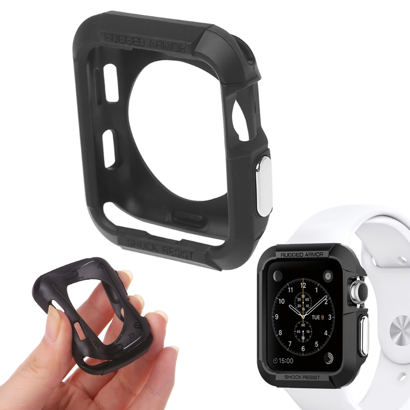 Black TPU Case Scratch Proof Shock Full Protection Cover For Apple Watch 3 2 1 42mm baseus guards case tpu tpe cover for iphone 7 red