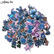 Flyingbee 50 Pcs Stitch funny Anime Waterproof Stickers Kids Toy Sticker for Luggage Laptop Wall stickers Home Decoration X0062