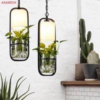 Modern black cage pendant lights iron Glass Cloth lampshade droplight E14 loft hanging Lamp Plant pendant lamp