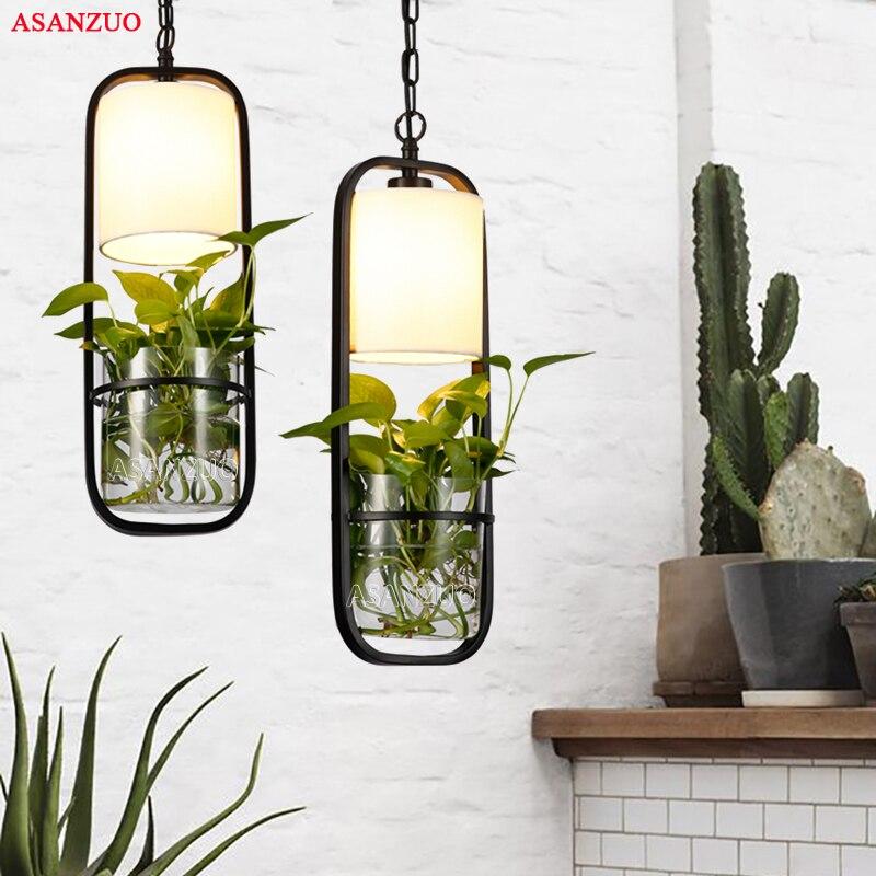 Moderne noir cage pendentif lumières fer verre tissu abat-jour droplight E27 loft suspension lampe plante pendentif lampe