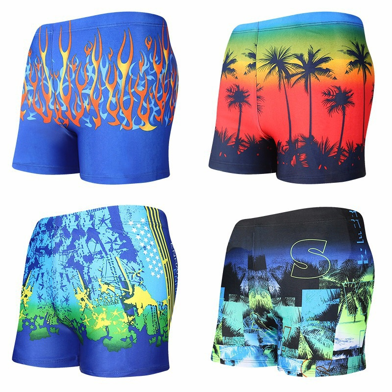 2018 Summer New Men's Printing Big Size Adult Swimming Trunks Hot Springs And Flat-Angle Swimming Trunks Wholesale