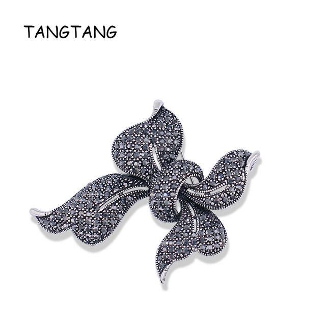 New Design X Letter Antique Silver Brooch With Fashion Rhinestone Knot Elegant Vintage Jewelry Bow Pin Hot Sale Item NO.: BH8212