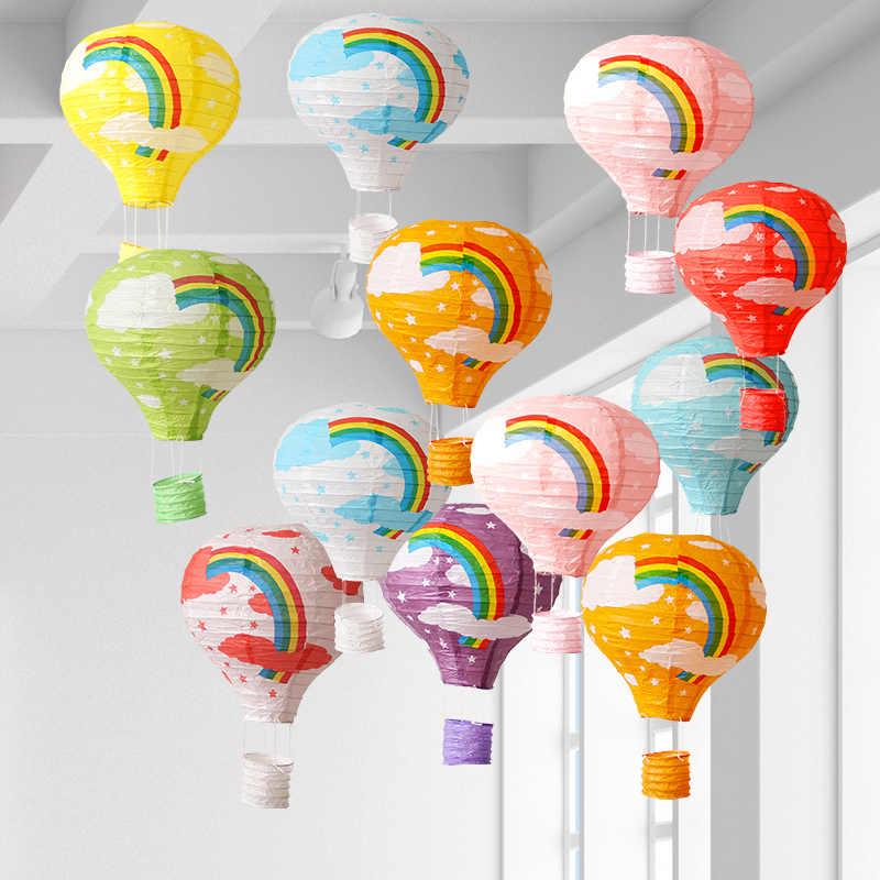 10 นิ้ว 25 เซนติเมตรสีขาว Hot Air บอลลูนกระดาษโคมไฟเทศกาลคริสต์มาสฮาโลวีนงานแต่งงานโคมไฟตกแต่งกระดาษแขวนลูกบอล