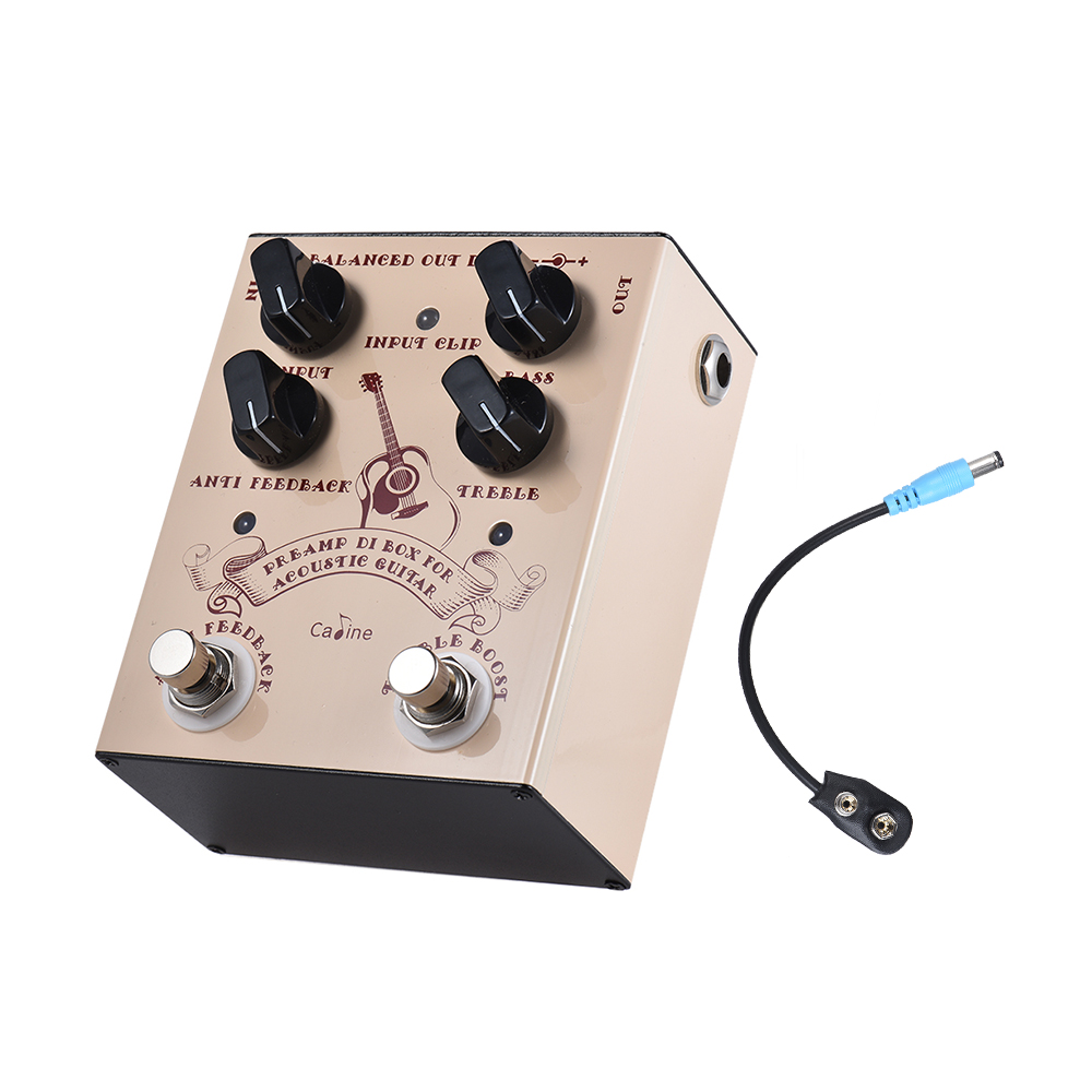 Caline Pre amp DI Box Guitar Effect Pedal with ANTI FEEDBACK TREBLE BOOST Footswitches Supports Bass