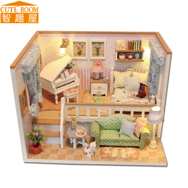 Assemble DIY Doll House Toy Wooden Miniatura Doll Houses Miniature Dollhouse toys With Furniture LED Lights Birthday Gift M026 1