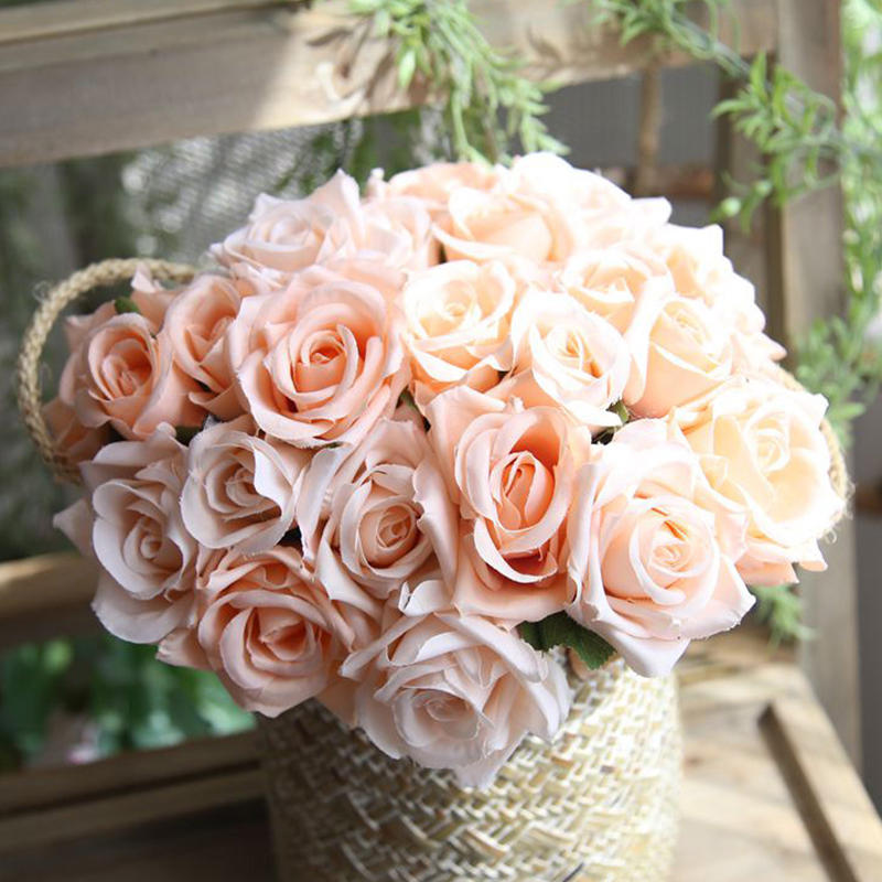 8 Head/Bunch Artificial Silk Roses Flowers Roses Posy Wedding Bridal Bouquet Flowers Home Decor Wedding Decoration Fake Flowers