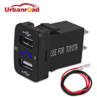 Urbanroad 12v Dual USB Socket Voltage Meter Car Charger Cigarette Lighter Interface Power Adapter For Toyota USB Socket 2 Ports
