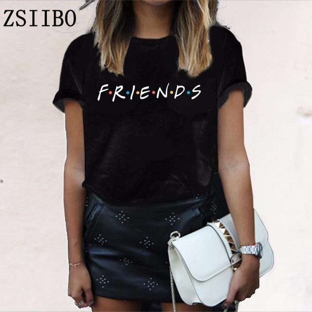חברים מכתב t חולצה נשים חולצת טי מזדמן מצחיק t לליידי ילדה למעלה טי Hipster זרוק ספינה