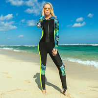 Sbart Thin Printed Long Sleeve Rash Guard Women One Piece Female Swimsuits Swimwear Zip Up Surf Wetsuits Bathing Suits DBO