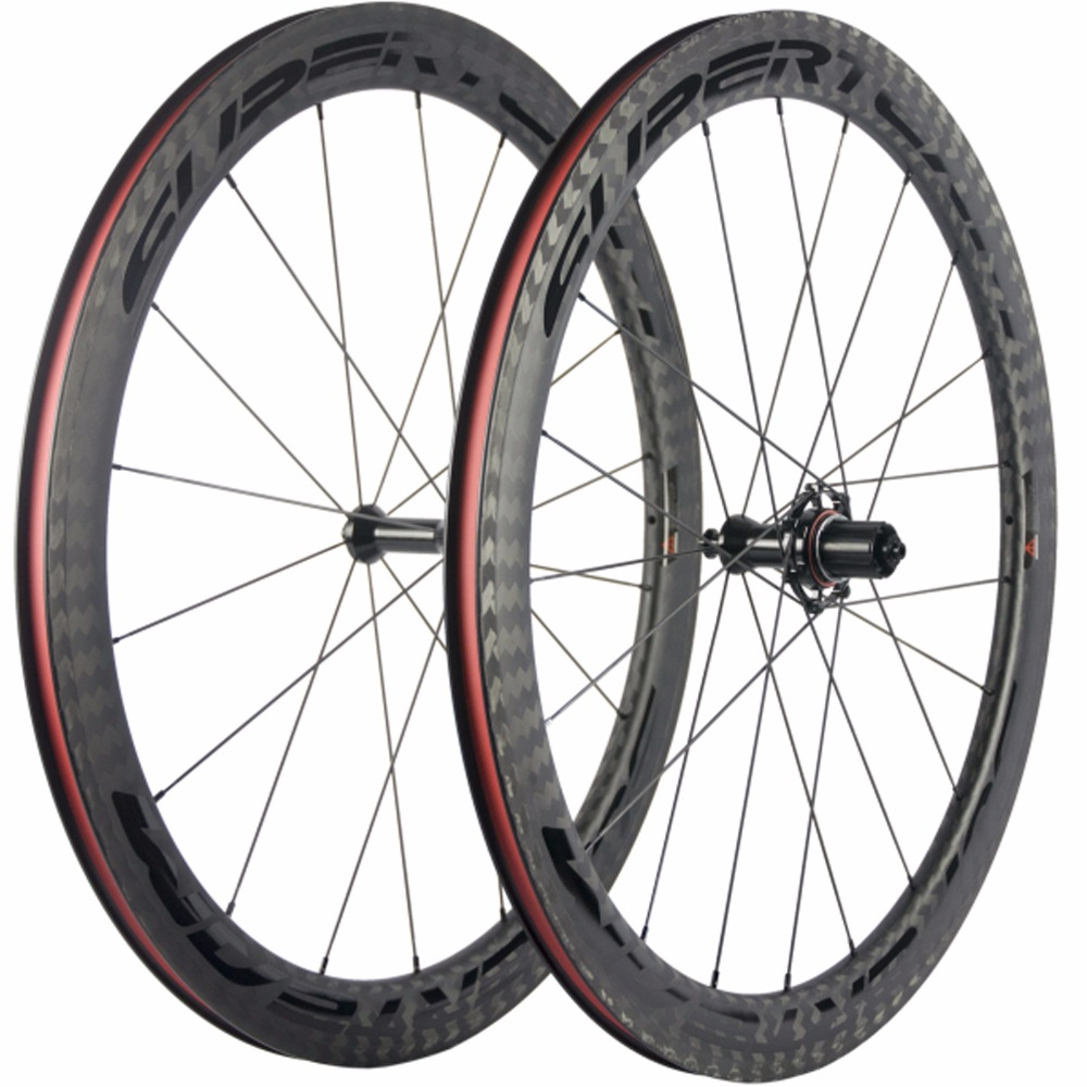 SUPERTEAM Cycling Bicycle Wheel Set 50mm Clincher Carbon Wheels With 12K Twill Weave 25mm Wide Road Bike Wheelset