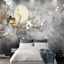 Custom 3d mural Chinese style white magnolia sofa TV background wall decoration painting wallpaper mural photo wallpaper free shipping large mural sofa tv background wall custom european style painting wallpaper tulip mural