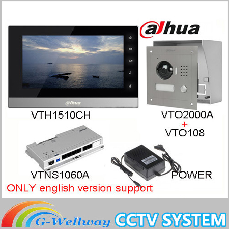 Original ahua English version VTH1510CH Color Monitor with VTO2000A outdoor IP camera Video Intercom system with VTOB108 box original 7 inch touch screen brand vth1510ch color monitor with vto2000a outdoor ip metal villa outdoor video intercom sysytem