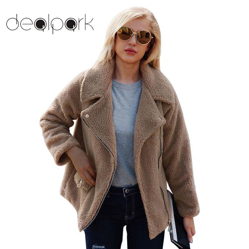 Fashion Tops Women Faux Lamb Wool Jacket Coat Long Sleeve Zipper Pocket Outercoat 2019 Autumn Winter Streetwear Plus Size 3XL