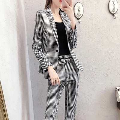 Professionale A 1 Lunga Temperamento Pantaloni Con Nuovo Plaid Pezzi Femminile Vestito Insieme Molla Due Donne Delle Del Manica vATYTnRq
