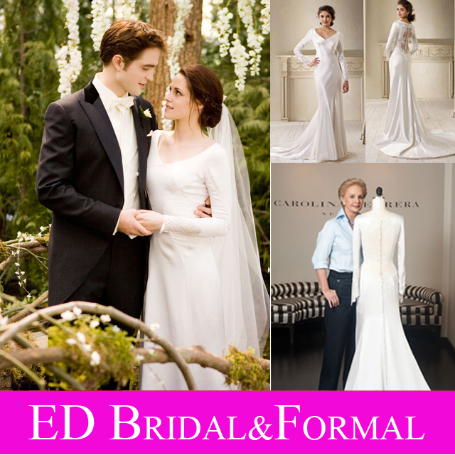 Long Sleeve Lace Twilight Wedding Dress V Neck Illusion Back Ss Satin Bella Swan Celebrity