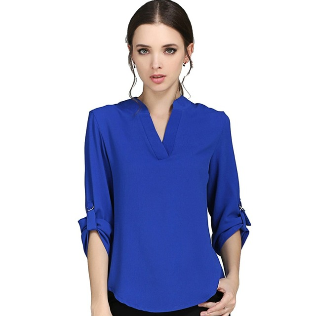 Women Blouses Tops Tee 2016 Summer Fall New Women Fashion Shirt Femme Solid Blouse Blusas y Camisas Mujer Plus Size xxxxl 5XL