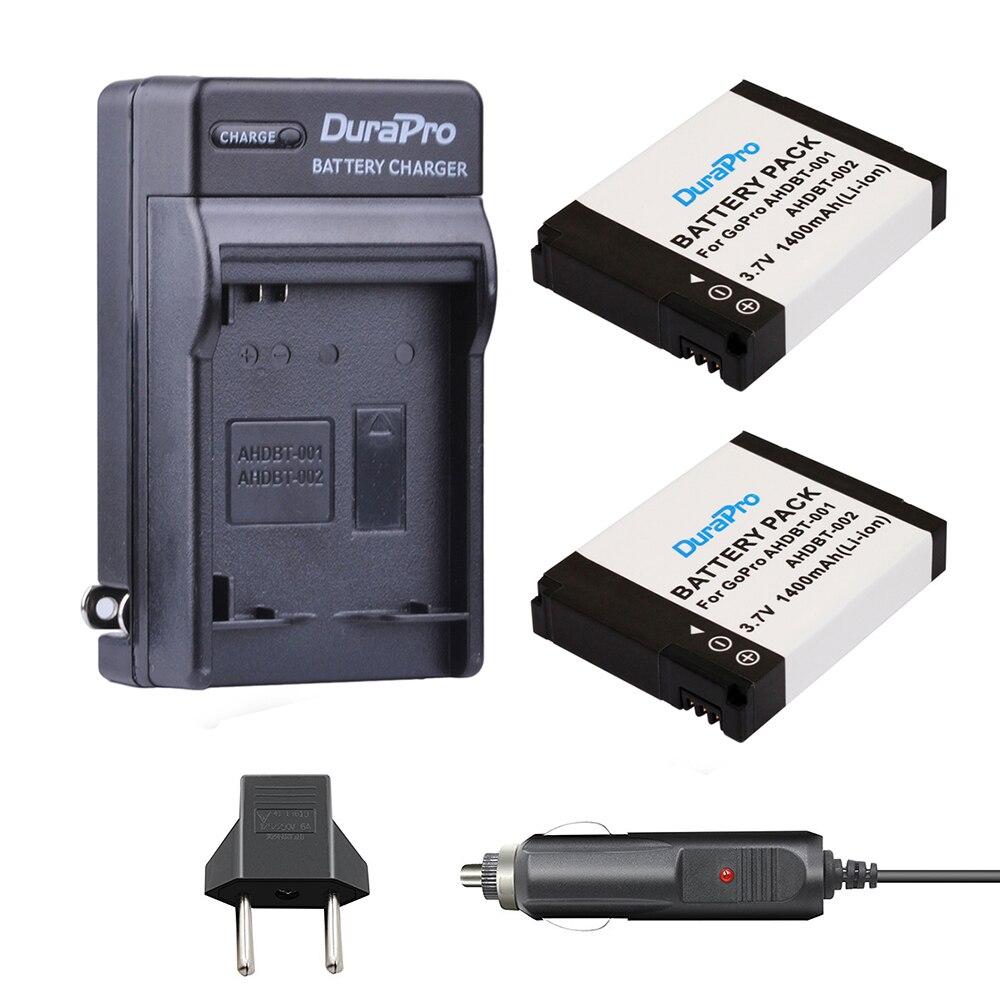 2pc AHDBT-001 ahdbt 001 li-ion bateria + carregador de carro + plugue da ue para gopro hero AHDBT-002 gopro hero2 1080p 960 nib AHDBT-002 bateria