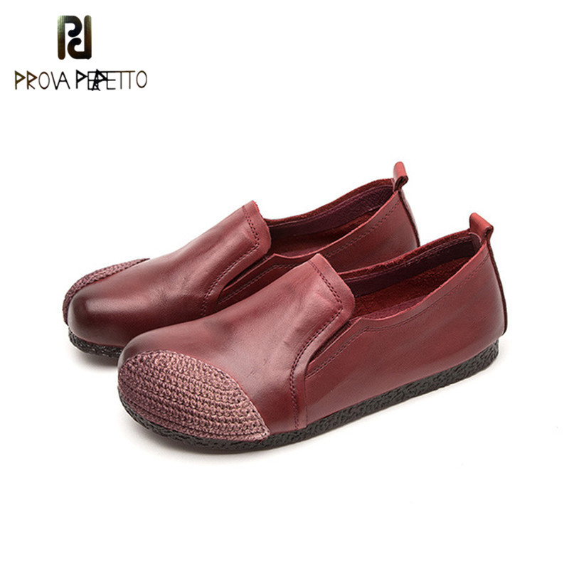 Prova perfetto Hot Sale Vintage Ethnic Style Light and Comfort Woman Flat Shoes Slip-on Genuine Leather Concise Rome Flat ShoesProva perfetto Hot Sale Vintage Ethnic Style Light and Comfort Woman Flat Shoes Slip-on Genuine Leather Concise Rome Flat Shoes