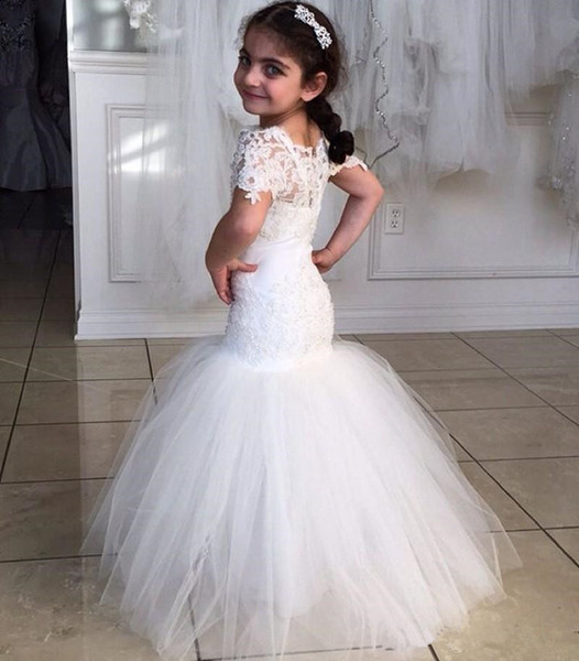 White Mermaid   Flower     Girl     Dresses   2019 Tulle Beaded Wedding Pageant Gowns Lace Sheer Short Sleeve Mother Daughter Lovely Kids